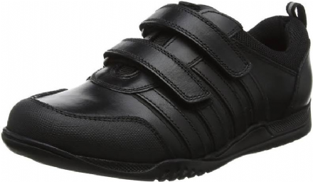HUSH PUPPIES Josh Velcro Leather School Shoe (Black)